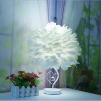 调光台灯卧室床头灯生日婚庆装饰简约创意遥控羽毛台灯时尚小台灯