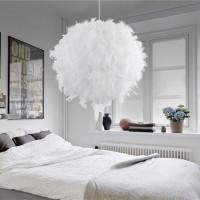卧室儿童卧房装饰展厅个性时尚简约白色粉色玫红羽毛圆球灯饰吊灯