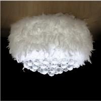 室内特色房间卧室圆球水晶羽毛吸顶灯灯6至7圈羽毛灯