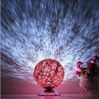 现代简约创意LED遥控圆球小台灯田园时尚麻线藤球卧室床头灯