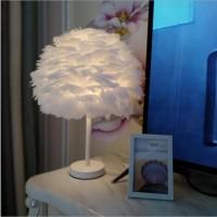 羽毛台灯北欧现代简约客厅卧室温馨创意美式白色个性儿童房艺术灯