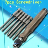手动螺丝刀套装带6pcs批头组合工具 六角孔螺丝刀