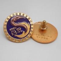 广州金属徽章、广州公司年会奖励徽章、金属镶钻襟章生产厂